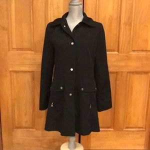 EUC Fleet Street Black Rain Coat w Detachable Hood